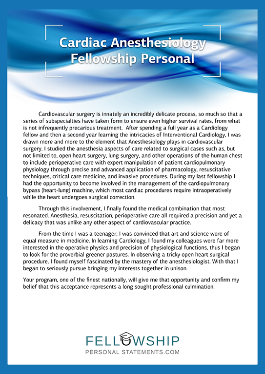 cardiac anesthesiology fellowship personal statement