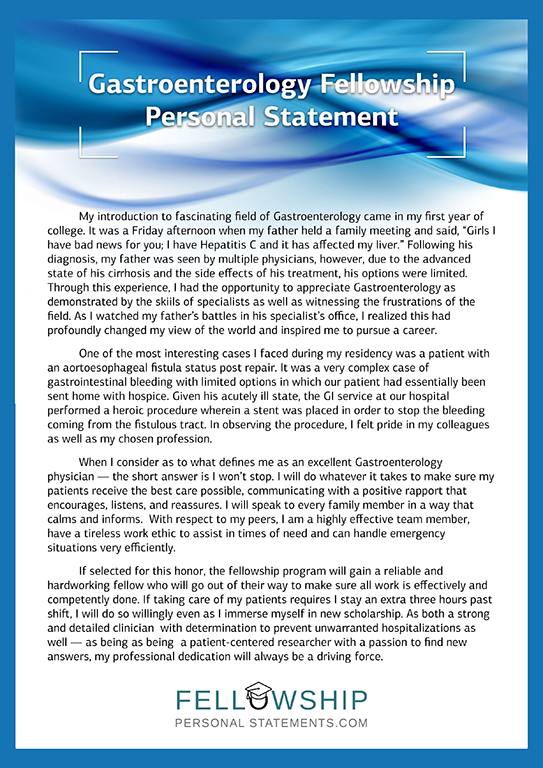 Gastroenterology Fellowship Personal Statement