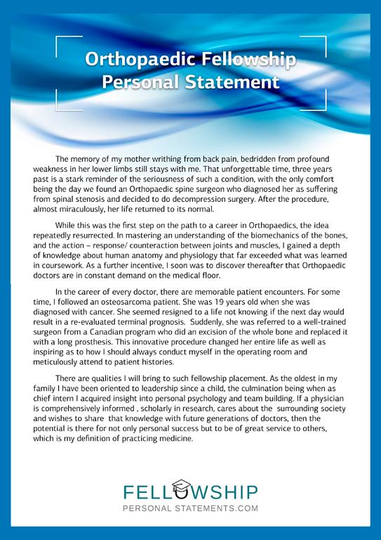 Orthopaedic Fellowship Personal Statement