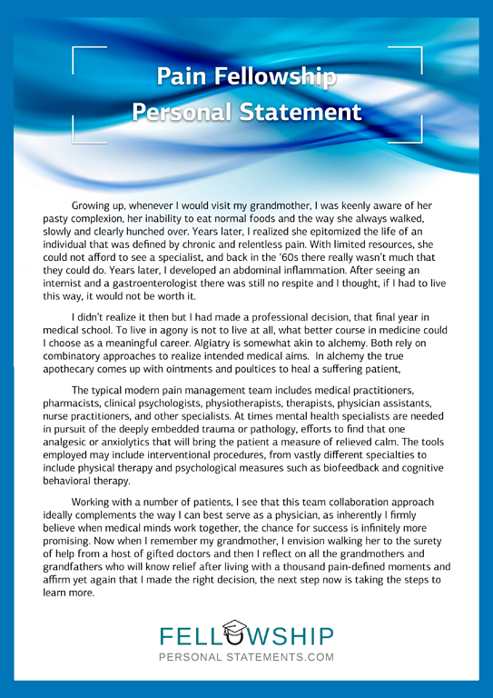 Pain fellowship personal statement