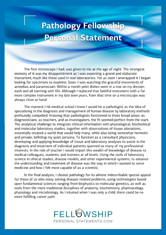 writing pathology fellowship personal statement