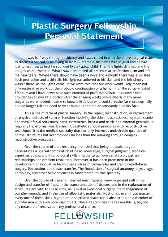 Writing Fellowship in Plastic Surgery Personal Statement