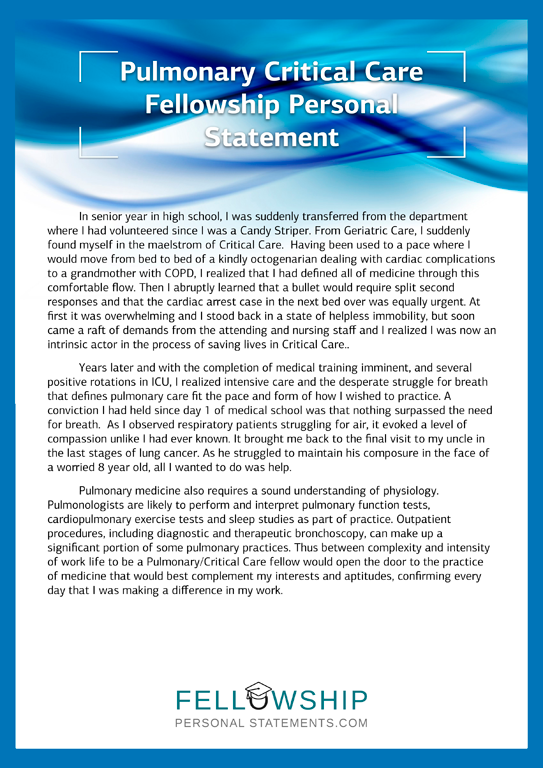 pulmonary critical care fellowship personal statement