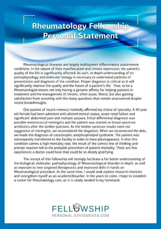 Pediatric Residency Personal Statement Sample