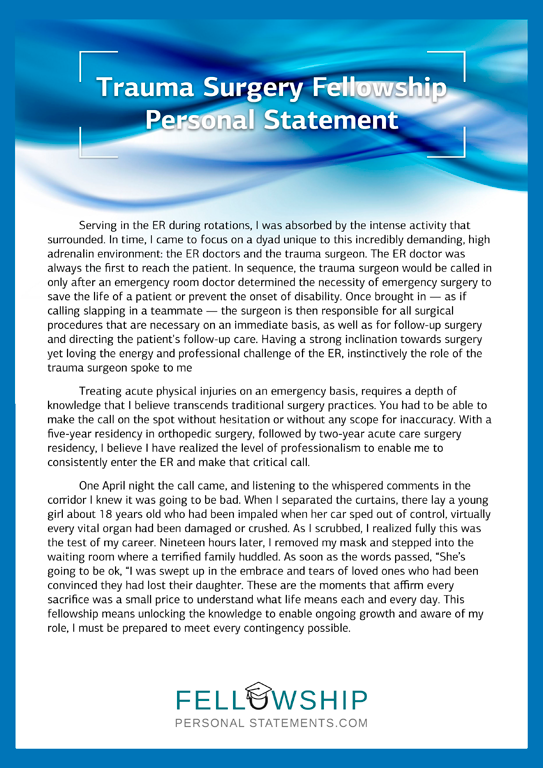 Trauma Surgery Fellowship Personal Statement