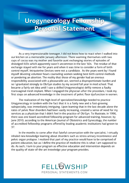 Assistance writing a personal statement