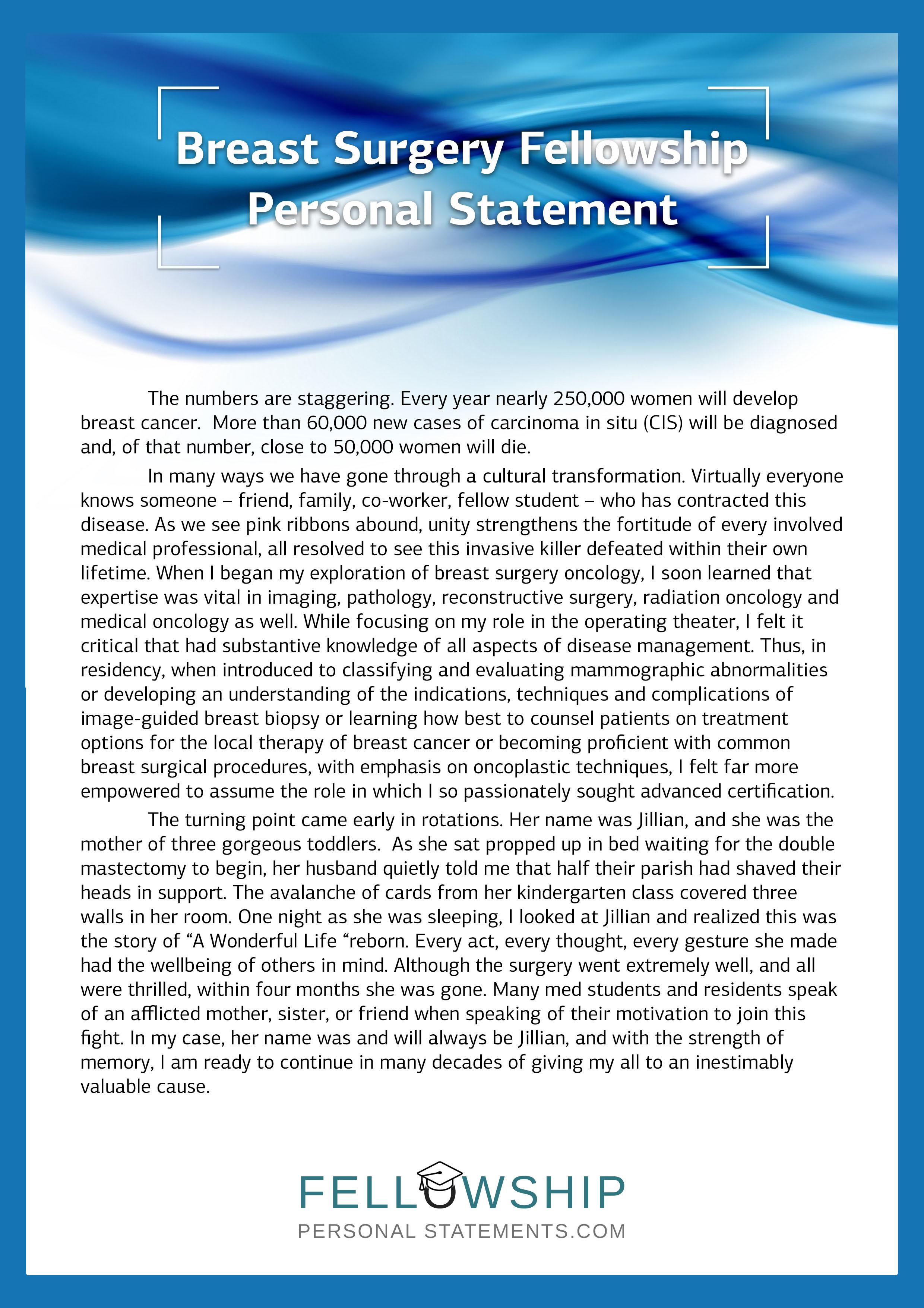 gastroenterology fellowship personal statement writing