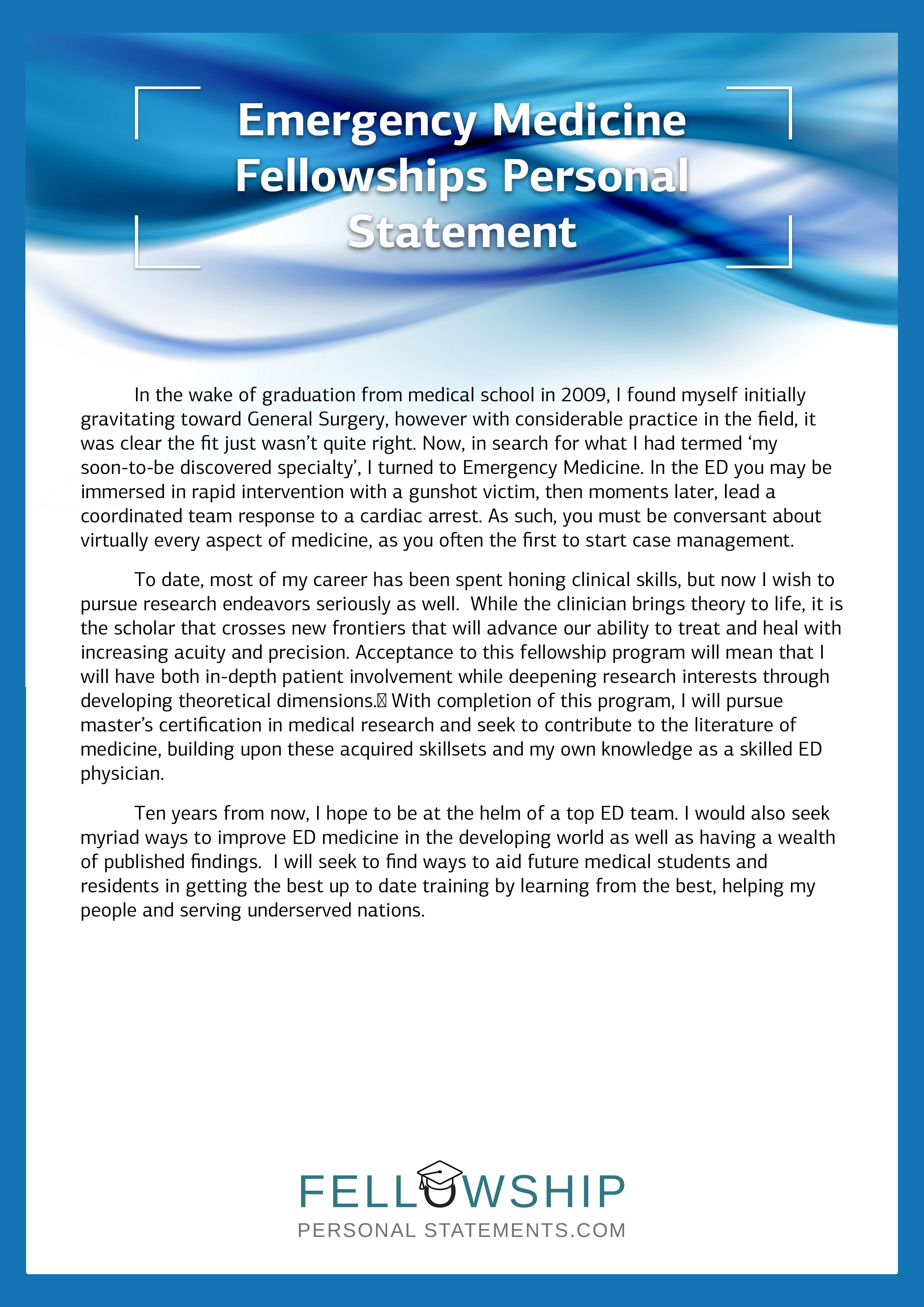 Medical fellowship personal statement