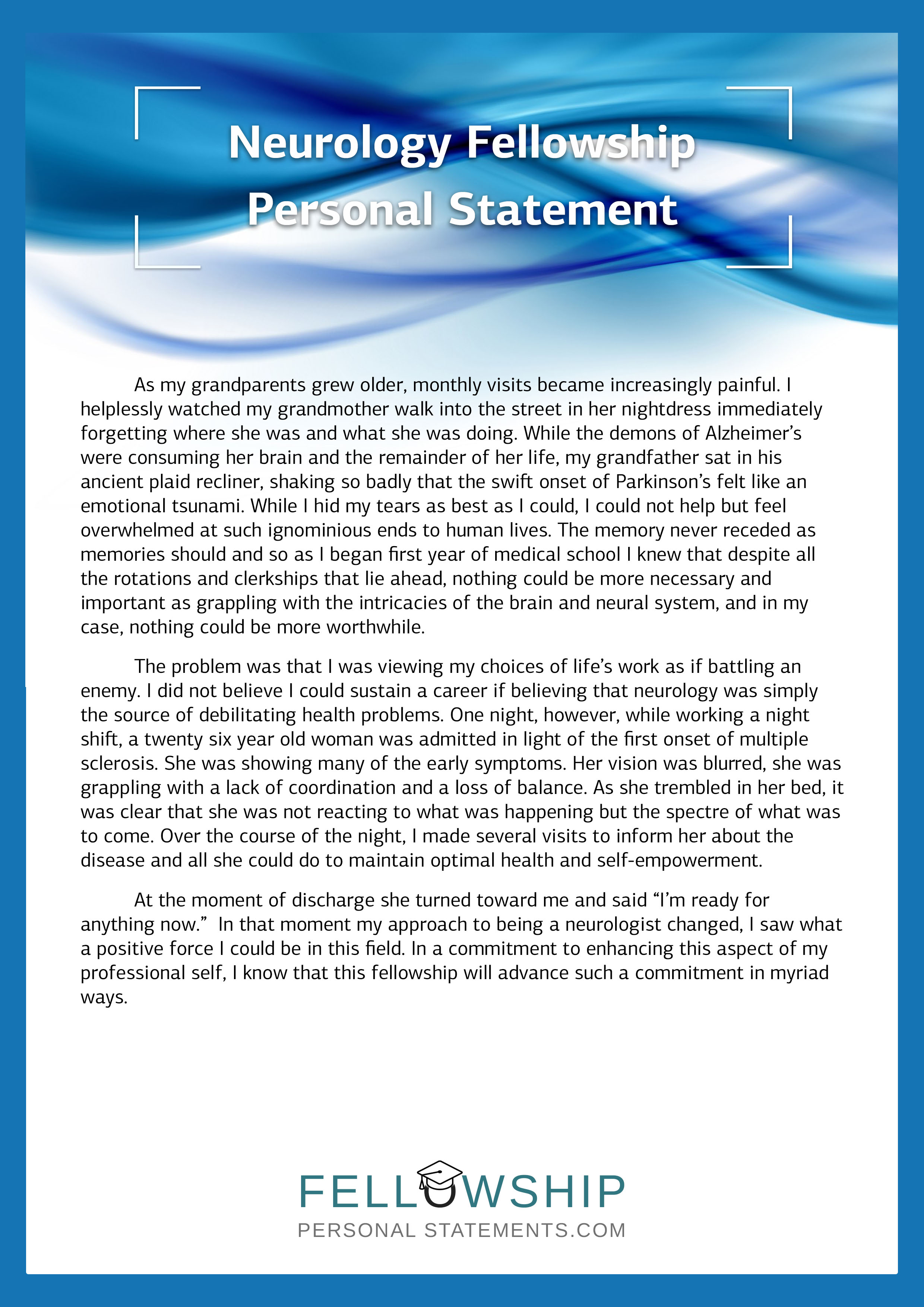 Personal statement for fellowship