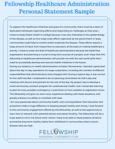 fellowship healthcare administration personal statement sample