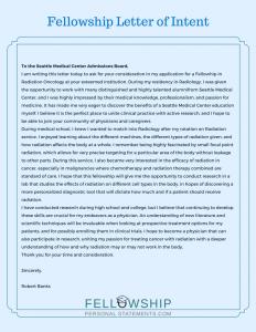 fellowship letter of intent sample