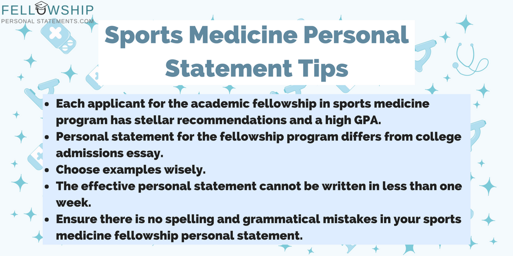 sports medicine personal statement tips