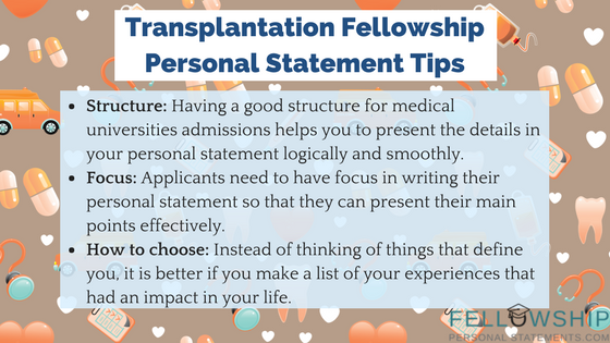 transplantation fellowship personal statement tips