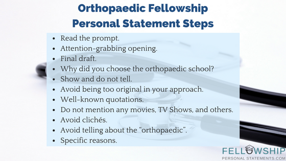 orthopaedic fellowship personal statement steps