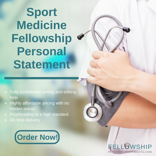 sport medicine fellowship personal statement writing