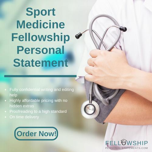 sport medicine fellowship personal statement writing