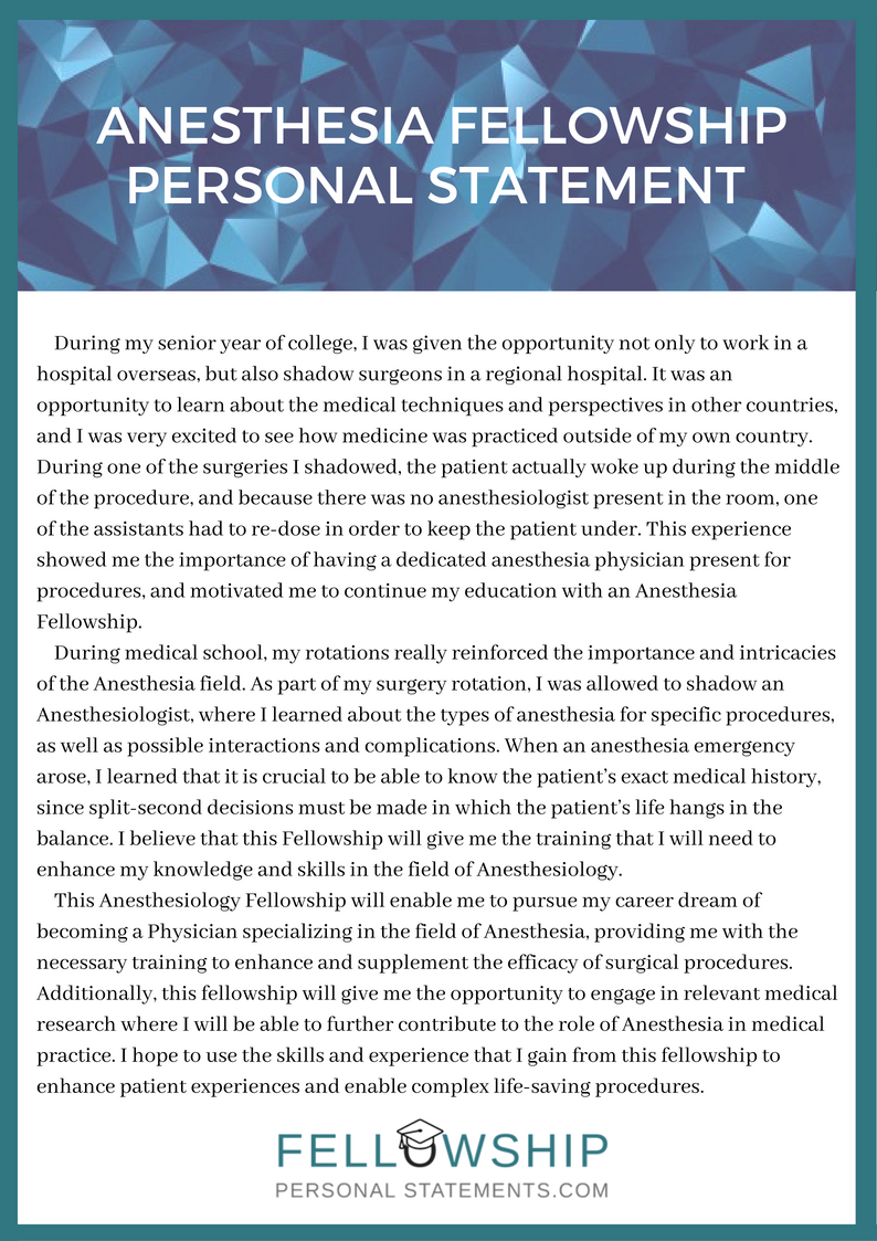 anesthesia fellowship personal statement sample