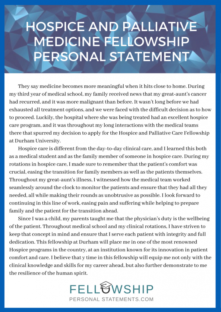hospice and palliative medicine fellowship personal statement